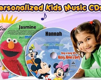 CDs where Mickey Mouse, Elmo, Disney Princesses, Veggie Tales, and The Wiggles will sing and talk to your child using the child's name.