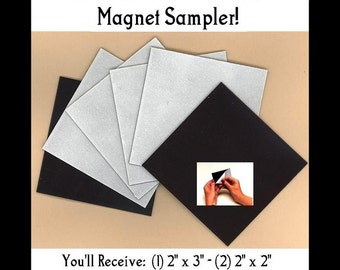 Craft Magnets - 35mil Self Adhesive Magnet Sampler 1x1 Inchies, 2x3, 2x2, 1x3, 1x2 - Great Way to Try Them Out