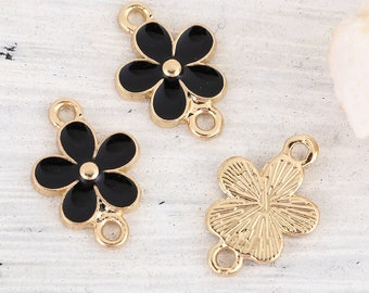 5 connectors in the shape of flowers in gold tone and enamel 1.8 cm