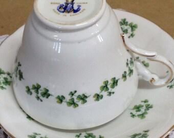 Vintage Regency Bone China Shamrocks Tea Cup and Saucer made in England