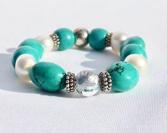 Handmade Genuine Turquoise, Freshwater Pearl & Bali Silver Bracelet