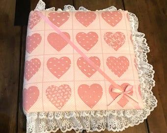 Vintage Beautiful Handmade Hearts Fabric and Lace Photo Album - Vintage Large 12x12 Photo Album - love Photo Album