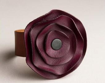 leather cuff, leather scarf cuff, purple Plum eggplant, poppy scarf cuff