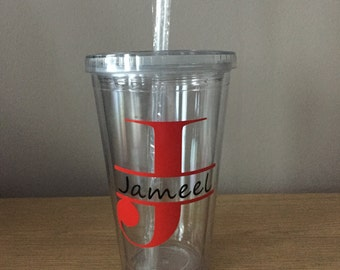 Personalised Cup / Tumbler with Name and Initial~ Reusable Tumbler~Gift~Birthday~Custom Made~Any Occasion
