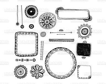 Decorative Borders, Patterns, Decorative Elements, Flowers, Labels, Badges, Digital Decors for Scrapbooking, Svg, Png, Jpg, Eps, Printable