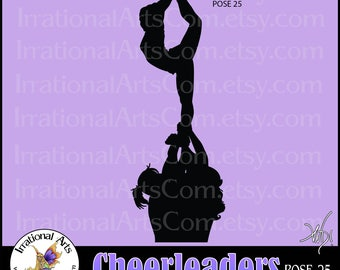 Cheer stunt team Silhouettes Pose 25 - 1 EPS & SVG Vinyl Ready files and 1 PNG digital file and commercial license [Instant Download]