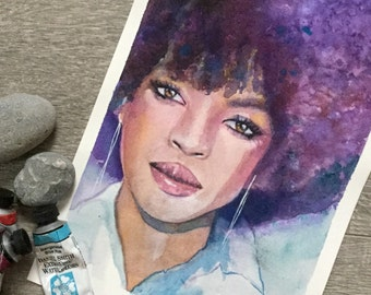 Original watercolour painting of Lauryn Hill