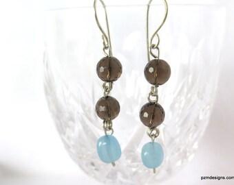 Smokey Quartz and Aquamarine Dangle Earrings, Gift for Her