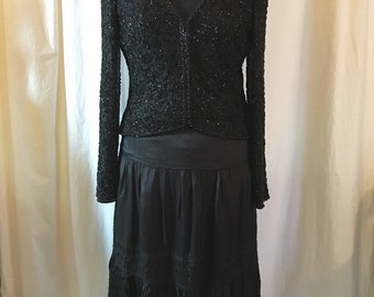 Vintage 90s Beaded Cardigan Jacket, Black Bugle Beads on Black Ground, Made in Hong Kong by Victoria Royal, Vee Neck with Zip Front, Bust 35