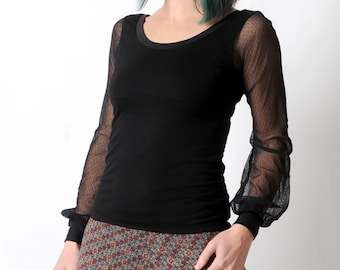 Black womens top, Black sheer sleeved tee, Black jersey top with long mesh sleeves, Womens tee, Womens clothing, MALAM