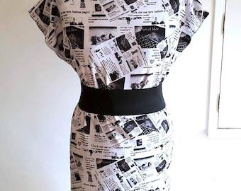 NEWSPAPER PRINT DRESS (handmade & custom printed fabric)