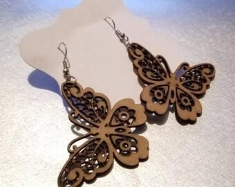 Wooden Butterfly Earrings II