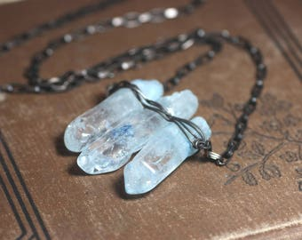 Light Blue Quartz Crystal Point Necklace Raw Rustic Jewelrly