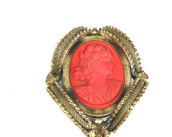 Fancy Red Cameo Brooch