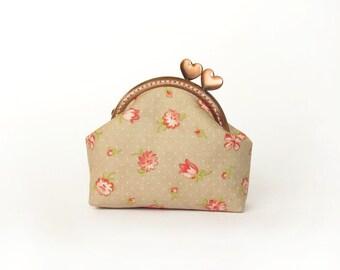 Beige coin purse, Floral purse, Pink flowers purse, Heart copper kisslock purse