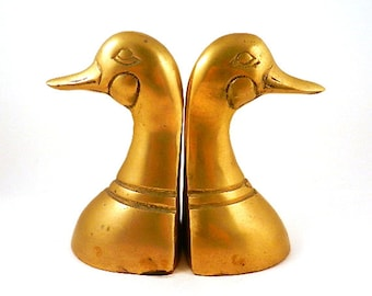 Brass Duck Bookends Matching Pair of Mallards for the Woodsman Hunting Cabin Mancave Decor
