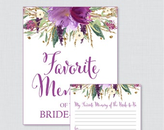 Favorite Memories of the Bride To Be Activity - Printable Purple and Gold Floral Bridal Shower - Purple Watercolor Shower Activity - 0008