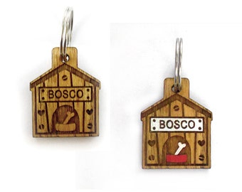 Wooden dog tag/ dog bone id tag/ dog bone tag/ dog house tag