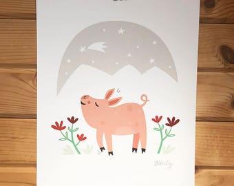 SET of 4 Farm Love Prints