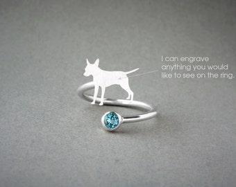 Adjustable Spiral PINSCHER BIRTHSTONE Ring / Pinscher Birthstone Ring / Birthstone Ring / Dog Ring