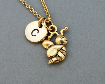 Bumblebee necklace, bumble bee, antique gold, initial necklace, hand stamped initial charm, personalized, monogram