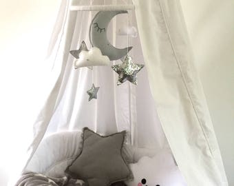 Sleepy moon, cloud and star baby cot mobile