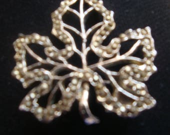Very Pretty Marcasite Leaf Brooch Vintage