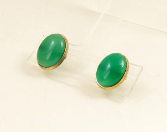 Vintage Green Onyx Earrings, Green Stone Earrings, Stud Earrings, Post Earrings, Pierced Earrings, Gold Tone
