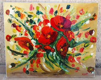 Painting, painting, oil painting, painting poppy painting, painting knife, burst of poppies