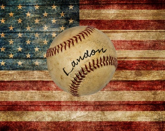 Personalized Baseball Photograph, Customized US Flag Photo Gifts for Boys Room Decor Wall Art Man Cave p158