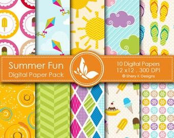 Summer Fun Paper Pack - 10 Printable Digital Scrapbooking papers - 12 x12 - 300 DPI