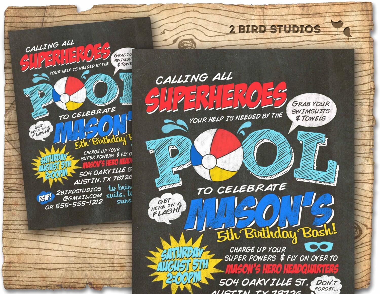 Superhero pool party invitation Superhero birthday
