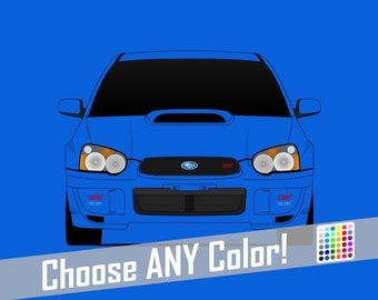 Subaru STI G2 Blobeye Poster // WRX // Impreza // Colorful Car Posters