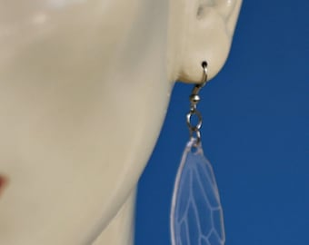 Clear Acrylic Laser Etched Cicada Wing Earrings