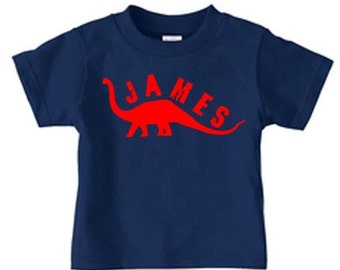 Personalized dinosaur t-shirt, birthday t shirt for boys - long-neck design