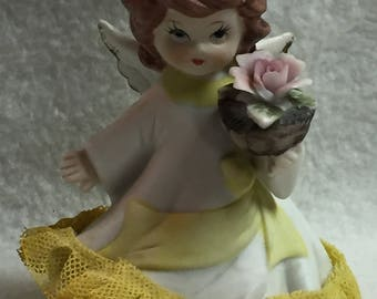 Angel with Yellow Lace Dress and Pink Flower (#003)