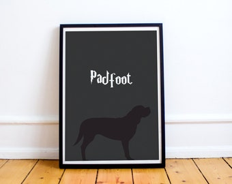 Padfoot Minimalist Print - Sirius Black - Marauders Map - Harry Potter (Available in many sizes)