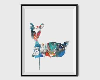 Printable Art, Instant Download, Abstract Deer Painting, Printable Wall Art, Nursery Decor, Modern Art, Wall Prints, Digital Download