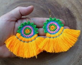 50% OFF Mango Tassel Earrings, Orange Earrings, Crochet Earrings, Large Orange Tassel Earrings, Carrot Orange, Earrings Handmade E075