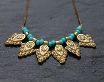 Turquoise necklace, Brass Necklace, Tribal Necklace, Triangle Necklace, Charm Necklace, Long Necklace, Boho Necklace, Geometric Necklace