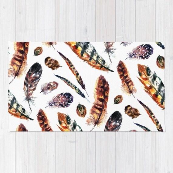 Boho Area Rug 2x3 Rug Feather Print Dorm Room Rug 3x5 Rug 4x6