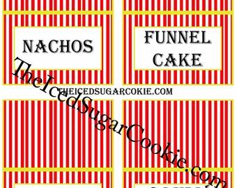 Circus Food Label Tent Cards-Printable Digital Download-Circus Birthday Party DIY-Circus Peanuts, Peanuts, Popcorn, Cotton Candy