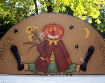 Fall Pumpkin Wood Door Crown Shelf Sitter Primitive Handpainted Art Home Decor