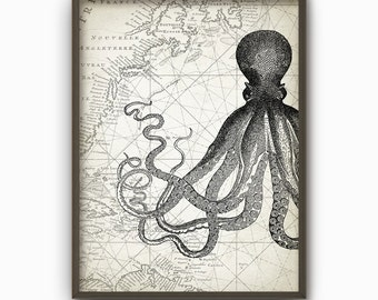 Octopus Vintage Marine Wall Art Poster - Marine Home Decor - Antique Octopus Illustration Art Print (B115)