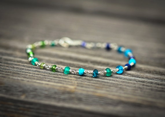 Green Blue Ombre Wire Wrapped Sterling Silver Bracelet