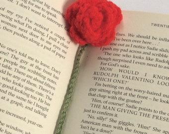 Crocheted rose bookmark