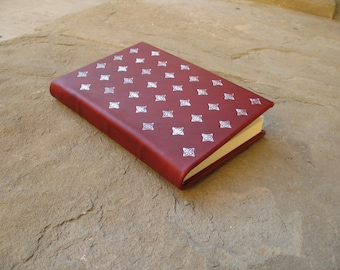 Leather journal with impressed metal foil diary scketchbook gift idea