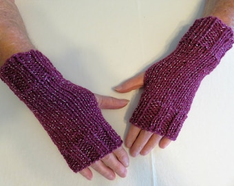 Hand Knit Fingerless Mittens/Gloves -Texting Gloves- Razzleberry Wrist Warmers- One Size Fits All