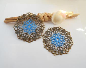 x 2 prints bronze 3.5 cm Blue enameled flower