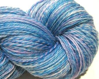 Handspun yarn Little Boy Blue worsted weight 2 ply, 486 yards pale blue purple hand dyed falkland wool  knitting supplies crochet supplies
